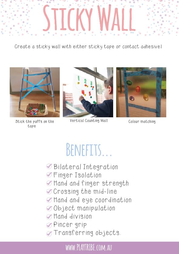 A great page from the Free Simple Fine Motor Skills eBook. Sticky walls are wonderful for hand eye coordination, fine motor skills, gross motor skills, bilateral coordination and more.