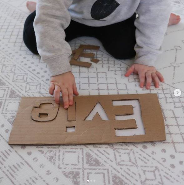 DIY Cardboard puzzle to help with name recognition